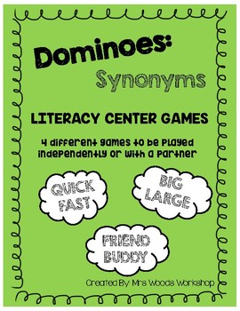 Literacy Center Games: Synonym Dominoes