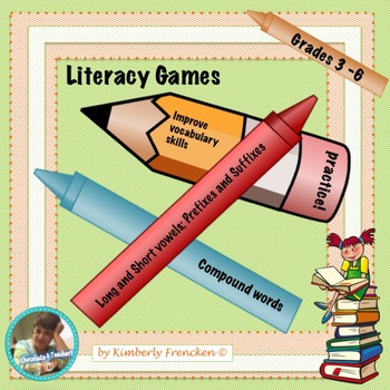 Literacy Center Games: Vowels, Compound words, Suffixes an