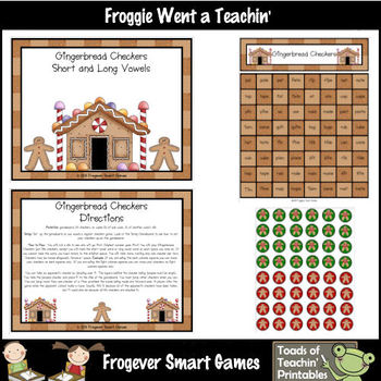 Short/Long Vowels--Gingerbread Checkers Christmas Theme