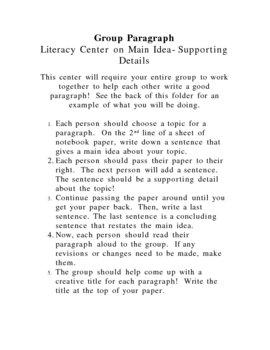 Literacy Center: Group Paragraph (Main Idea/Details)