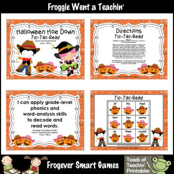 Literacy Center--Halloween Hoe Down Tic-Tac-Read Dolch First Grade Words