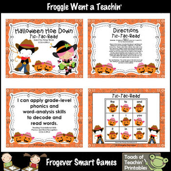 Literacy Center--Halloween Hoe Down Tic-Tac-Read Dolch Pre-Primer Words