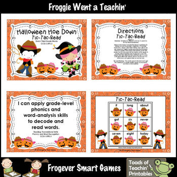 Literacy Center--Halloween Hoe Down Tic-Tac-Read Dolch Thi