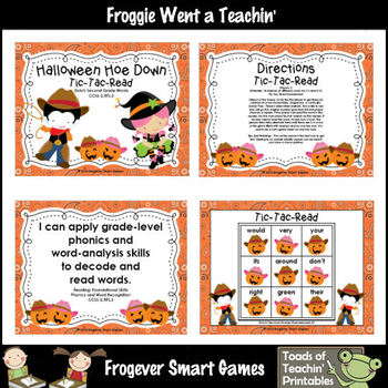 Literacy Center--Halloween Hoe Down Tic Tac Read (P, 1st, 2nd Dolch Words)