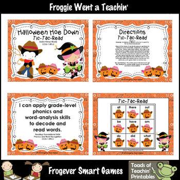 Literacy Center--Halloween Hoe Down Tic Tac Read (P, 1st,