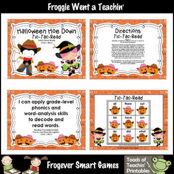 Literacy Center--Halloween Hoe Down Tic Tac Read Bundle I (PP, P, 1st Dolch)