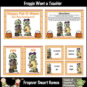 Literacy Center--Happy-Pal-O-Ween Are They Synonyms?