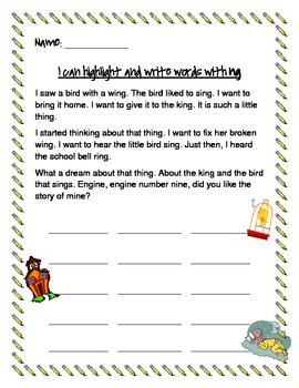 Literacy Center: Highlight and find -ng