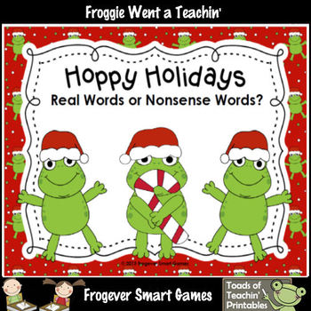 Literacy Center--Hoppy Holidays Real Words or Nonsense Words?