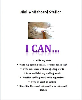 "Literacy Center ""I Can"" Directions for students"