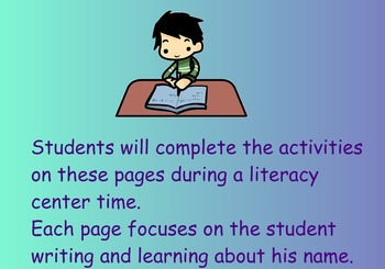 Literacy Center - I Can Learn About My Name