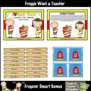 """Literacy Center -- I Love Fast Food Chicken & """"Fry"""" Phrases (level 1 words)"""