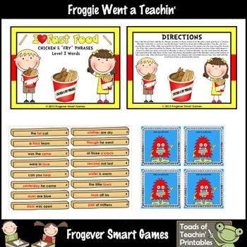"Literacy Center -- I Love Fast Food Chicken & ""Fry"" Phrases level 3 words)"