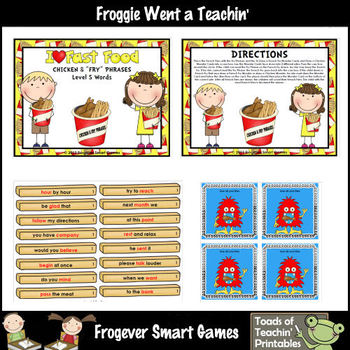 """Literacy Center -- I Love Fast Food Chicken & """"Fry"""" Phrases (level 5 words)"""