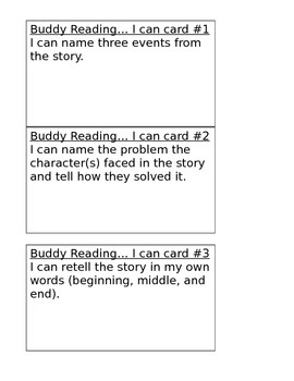 """Literacy Center """"I can"""" Posters & Buddy Reading Task Cards (Editable)s"""