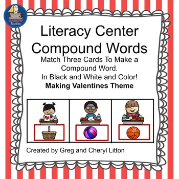 Literacy Center Idea Compound Words With Pictures Grades K and 1 Valentine Theme