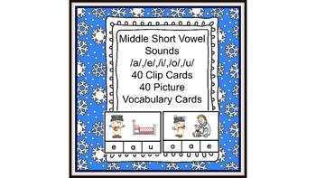 Literacy Center Idea Short Middle Vowels a,e,i,o,u with a Snowman Theme