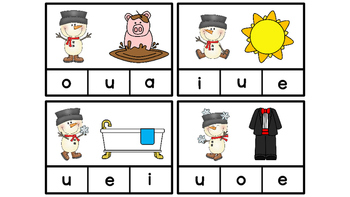 Literacy Center Idea Short Middle Vowels a,e,i,o,u with a Snowman Theme