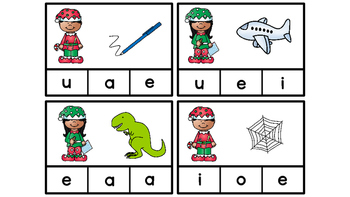 Literacy Center Idea Short Middle Vowels a,e,i,o,u with a Christmas Elf Theme
