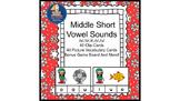 Literacy Center Idea Short Middle Vowels a,e,i,o,u with a Christmas Elf Theme