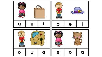Literacy Center Idea Short Middle Vowels a,e,i,o,u with a Valentine Theme