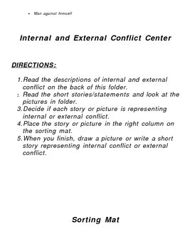 Literacy Center: Internal/External Conflict