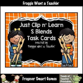 Literacy Center--Just Clip n' Learn S Blends/Bonus S Blends Posters