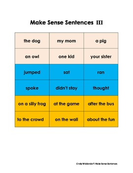 Literacy Center K-2: Making Sense of Sentences