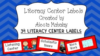 Literacy Center Labels (Red)