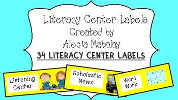 Literacy Center Labels (Yellow)