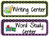 Literacy Center Labels- Polka Dot