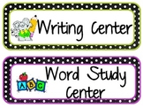 Literacy Center Labels- Polka Dot