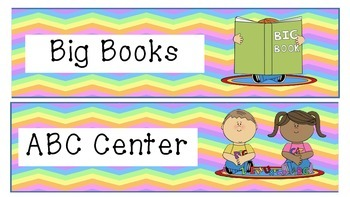Literacy Center Labels (Rainbow)