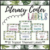 Literacy Center Labels (Tropical)