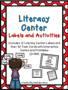 Literacy Center Labels and Activities-BW