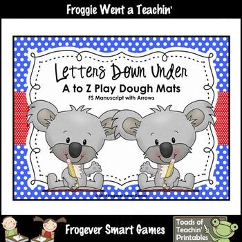 Play Dough Alphabet-Letters Down Under A to Z Play Dough Mats
