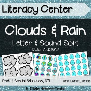 Literacy Center: Letters & Sounds Sort, Rain & Clouds Theme