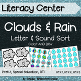 Literacy Center: Letters & Sounds Sort, Rain & Clouds Theme