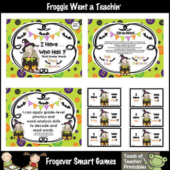 Literacy Center--Lil Possum's Halloween I Have...Who Has? Third Grade Words