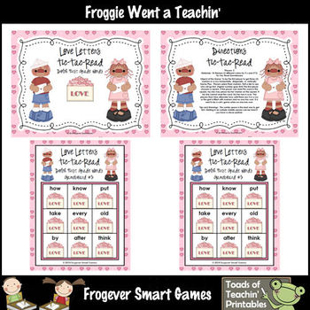 Valentine's Day--Love Letters Tic-Tac-Read and Tic-Tac Spell 1st Grade Words
