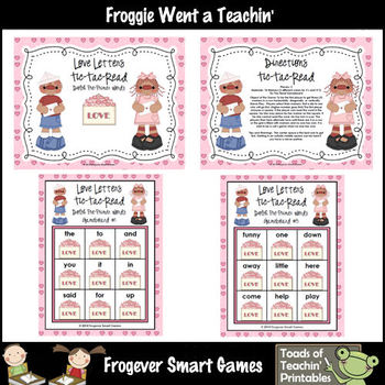 Valentine's Day--Love Letters Tic-Tac-Read and Tic-Tac-Spell Pre-Primer Words