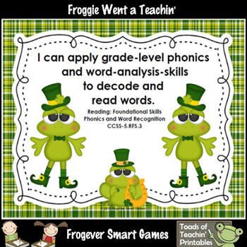 St.Patrick's Day--Lucky Froggies Tic-Tac-Read Fifth 100 Fry Words