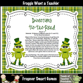 St.Patrick's Day--Lucky Froggies Tic-Tac-Read First 600 Fry Words Mega Bundle