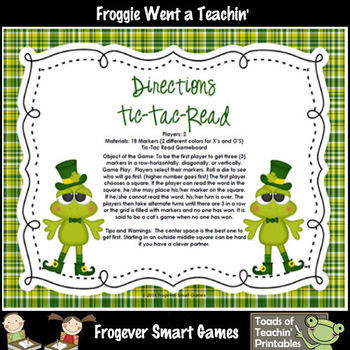 St.Patrick's Day--Lucky Froggies Tic-Tac-Read Fourth 100 Fry Words
