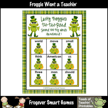 St.Patrick's Day--Lucky Froggies Tic-Tac-Read Second 100 Fry Words