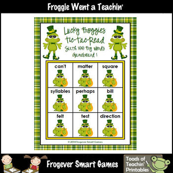 St.Patrick's Day--Lucky Froggies Tic-Tac-Read Sixth 100  Fry Words