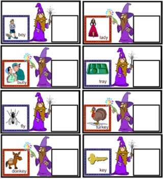 "Literacy Center-  Magician Change ""y"" to ""i"" and add ""es"""