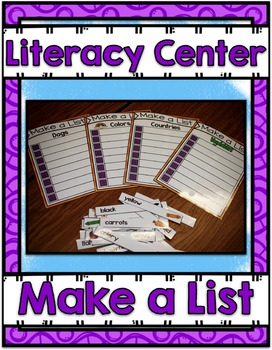 Literacy Center ~ Making Lists