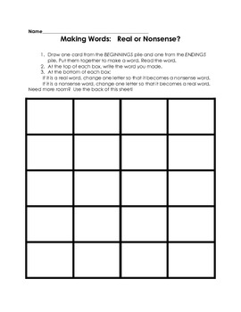 Literacy Center: Making Words (Real or Nonsense?)