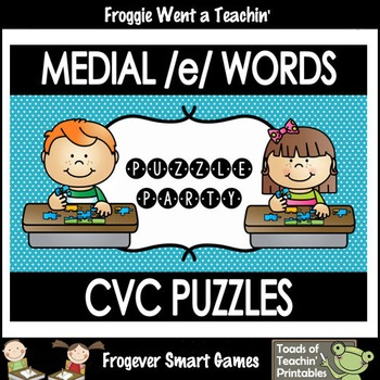 """CVC Word Puzzles-Medial /e/ Words """"Puzzle Party"""""""
